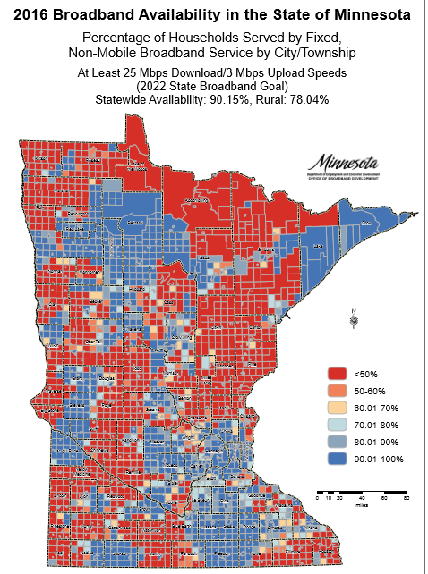 New Broadband Availability Map by MN Townships   Blandin on ...