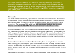 A tool for schools: Finding the Broadband Internet Service That
