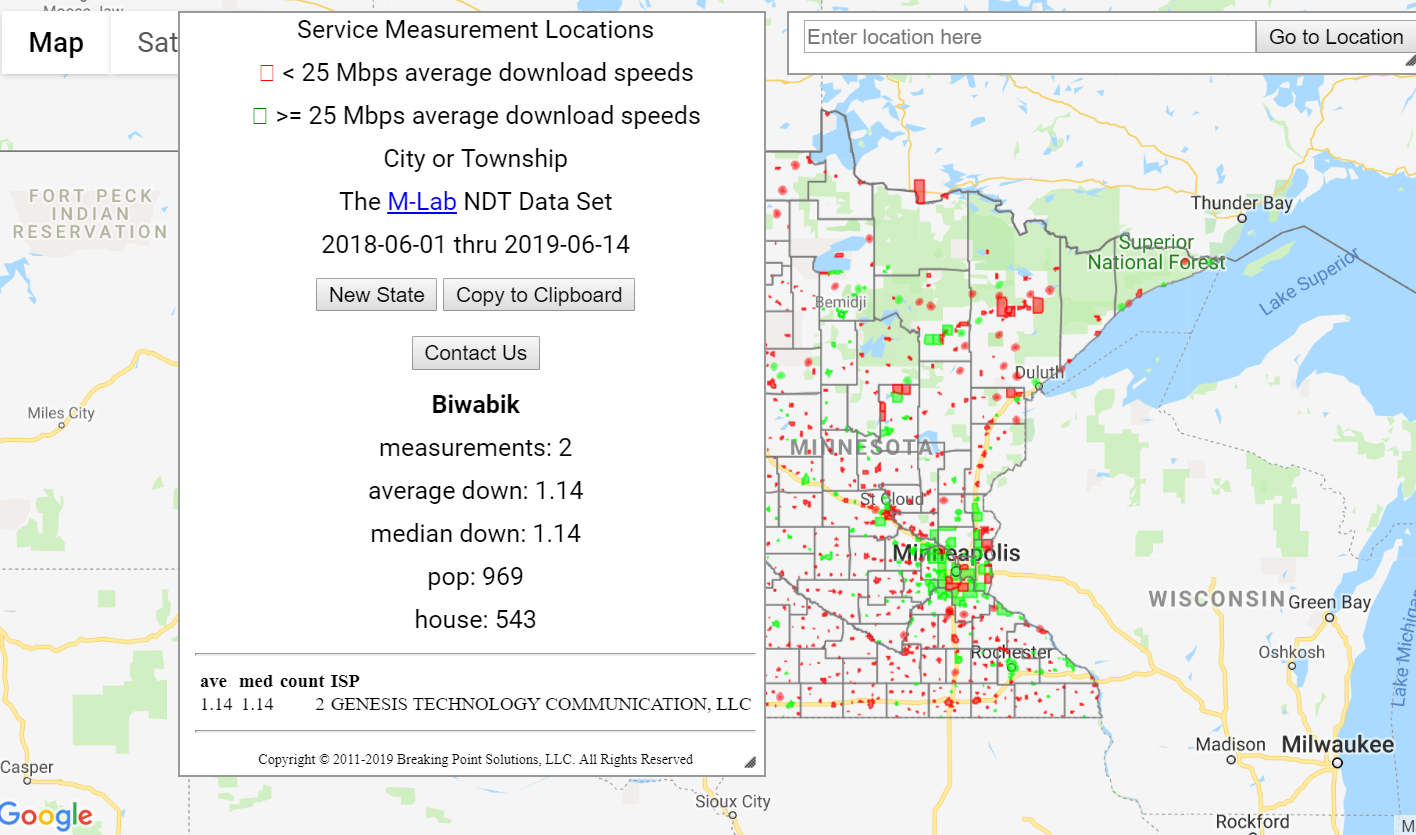 Interactive broadband map of MN based on speed tests ...